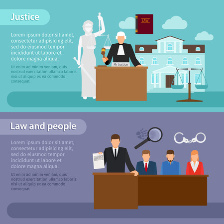 justice legal: Law banners. People and law, justice and equity