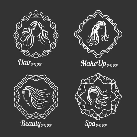 hair beauty: Woman Beauty and Care Logo vector Templates