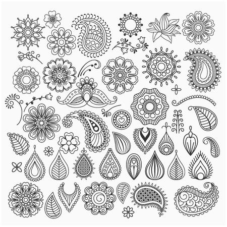dessin au trait: Main vecteur dessinée vintages des remous et des éléments floraux de griffonnage