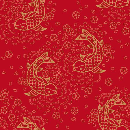 잉어 물고기 중국 벡터 원활한 패턴 일러스트