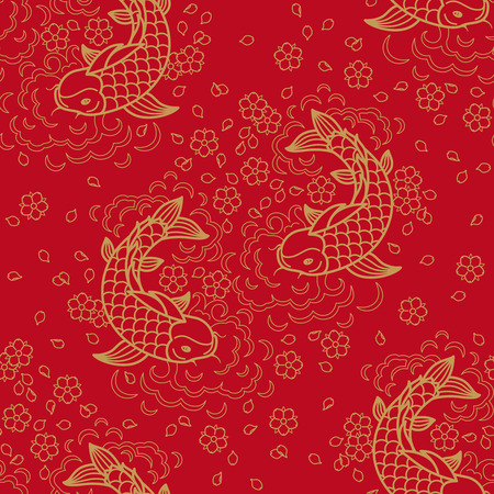 Chinese vector seamless pattern with Koi Fish Çizim