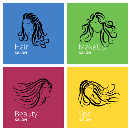 Beautiful woman for Beauty salon logo, Hair salon label or Make-up salon emblem