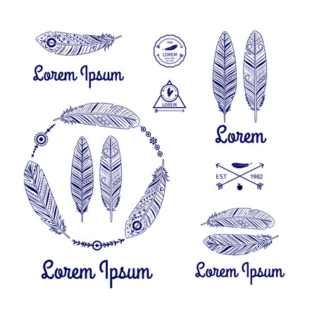 a feather: Ethnic feathers vector set with arrows Illustration