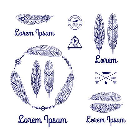 piuma bianca: Piume etnici Vector set con le frecce Vettoriali