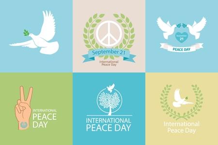 simbolo della pace: Giornata Internazionale della Pace modelli di poster con la colomba bianca e ramo d'ulivo Vettoriali