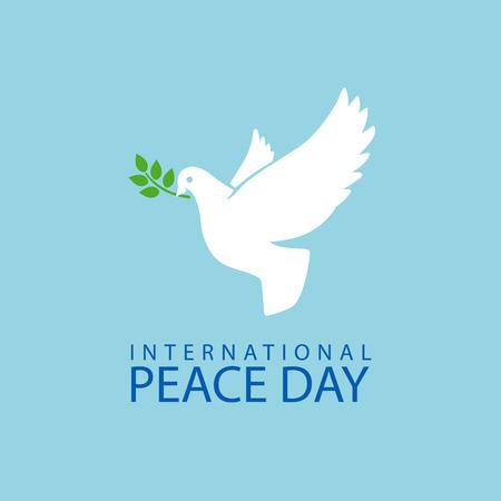 palomas volando: La paz se zambulló con la rama de olivo para el cartel del Día Internacional de la Paz Vectores