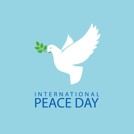 doves: Peace dove with olive branch for International Peace Day poster