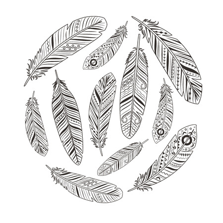 softly: Ethnic hand drawn retro feather silhouettes circle sign