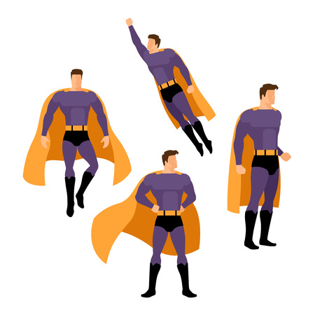 superhero: Superhero poses set. Flying superhero over white background
