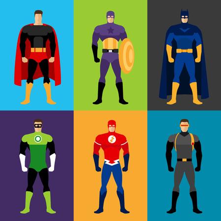 スーパー ヒーローの衣装。スーパー ヒーローの服のベクター セット