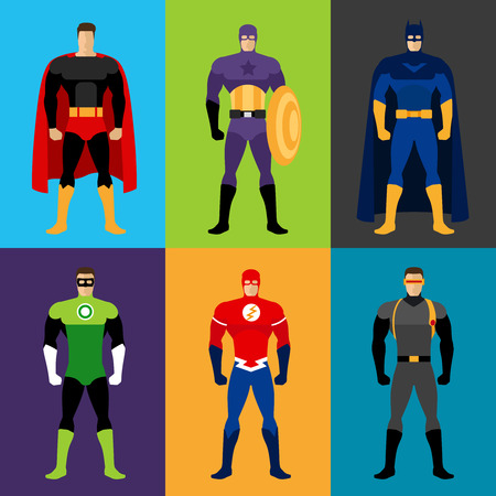 Superhero costumes. Vector set of clothes for super heroes