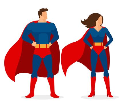 슈퍼 히어로 커플. 슈퍼맨과 흰색 배경 위에 평면 스타일의 슈퍼 우먼 벡터 문자