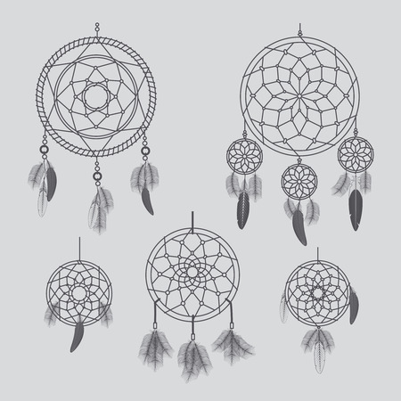 swelled: Vector dream catcher. Hand drawn vector dream catchers for boho and ethnic decor Illustration