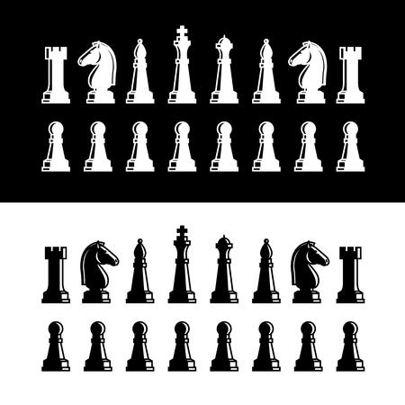 Piezas de ajedrez iconos de siluetas negras. Piezas de ajedrez ilustración vectorial sobre fondo blanco Ilustración de vector