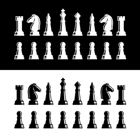 caballo de ajedrez: Piezas de ajedrez iconos de siluetas negras. Piezas de ajedrez ilustración vectorial sobre fondo blanco Vectores