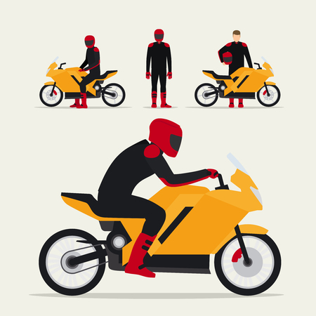 motorcyclist: Biker with motorcycle in different poses flat vector illustration. Motorcyclist on motorbike