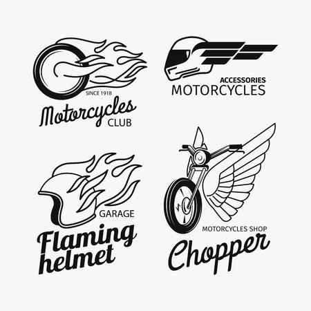 casco moto: Carreras de motos o vector conjunto de etiquetas moto Vectores