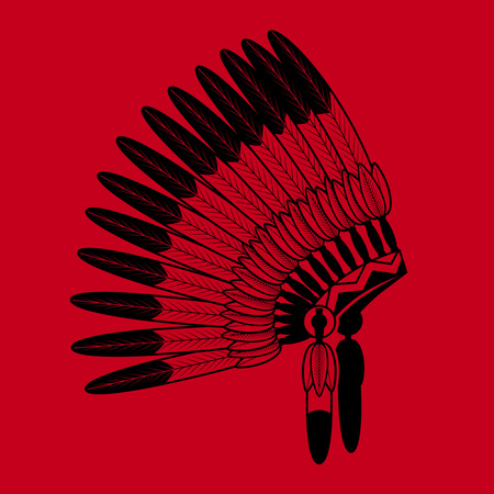 bonnet: American Indian feathers war bonnet on red background. Vector feathers war bonnet Illustration