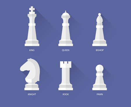 chess rook: Chess pieces flat icons. Vector queen and bishop, rook and a knight Illustration