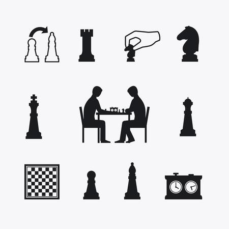 ajedrez: Jugar iconos de ajedrez. Los jugadores de ajedrez de las siluetas en la mesa con tablero de ajedrez