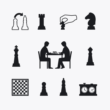 chess pieces: Playing chess icons. Chess players silhouettes at the table with chessboard
