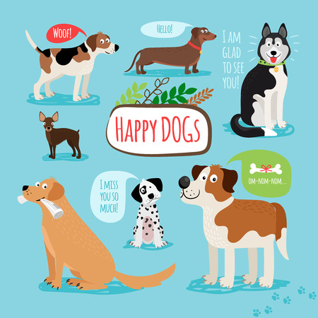 pug dog: Vector cartoon hand drawn dogs with speech bubbles