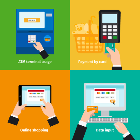 cashless: Credit plastic card usage. ATM, cashless payment and online payment