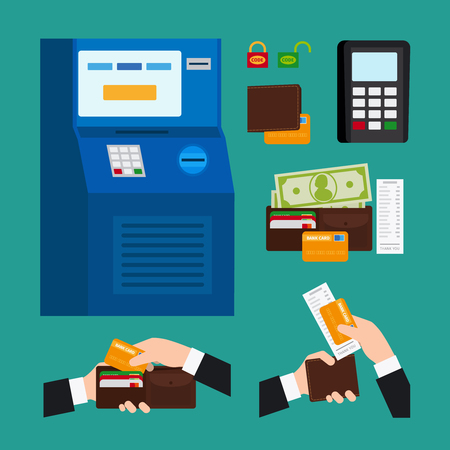 ATM Terminal Usage. Deposit and withdrawal money icons Illustration