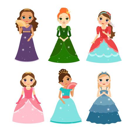 princesa: Pequeña princesa de las muchachas del vector aislado en el fondo blanco Vectores