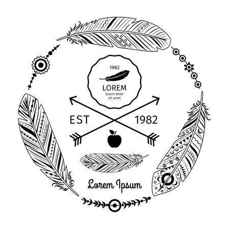 Frecce vettore piume etnico etichetta witn in stile pantaloni a vita bassa