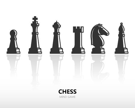 caballo de ajedrez: Piezas de ajedrez o figuras de ajedrez. Vector silueta conjunto de iconos con la reflexión Vectores