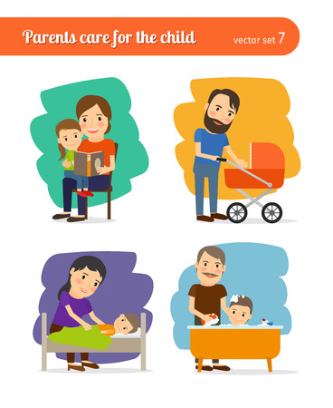 child care: Parents care for the child Illustration