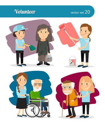 altruism: Caracteres Mujer voluntarios jóvenes