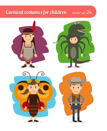 cowboy cartoon: Children costumes. Injun and cowboy, butterfly and sea monster Illustration