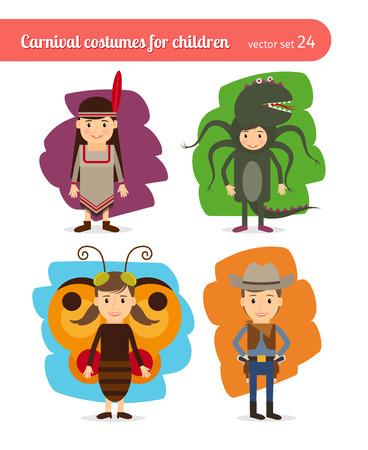 vaquero: Niños trajes. Injun y vaquero, mariposa y monstruo marino