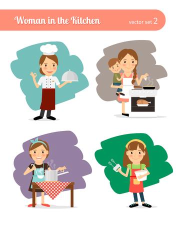 casalinga: Donna in cucina Vettoriali
