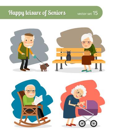 simbolo uomo donna: Le attività quotidiane di vecchi pensionati