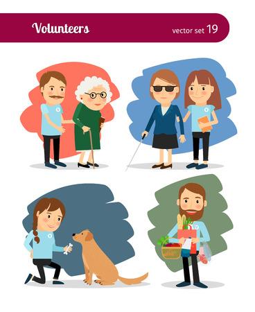ボランティアが高齢者や障害者を気します。  イラスト・ベクター素材