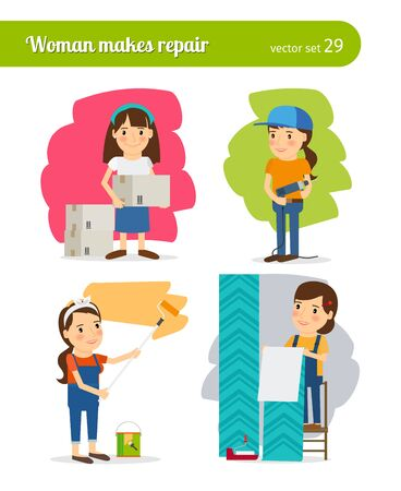 modifying: Woman making repairs in her home Illustration