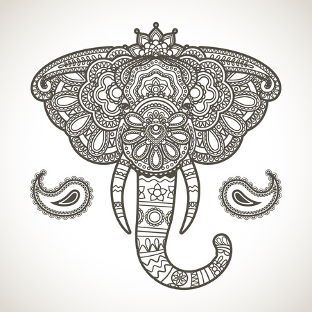 thai style: Vintage hand-drawn indian elephant head illustration Illustration