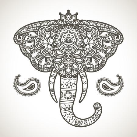 elefant: Weinlese von Hand gezeichnet indischen Elefanten kopf