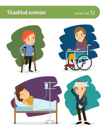 Femme handicapée et des personnages de femme malades