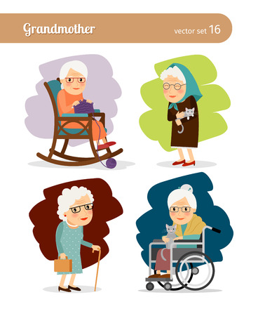 persona en silla de ruedas: Personaje de dibujos animados de la abuela Vectores