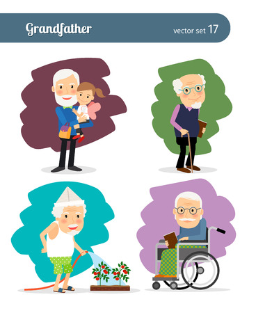 persona feliz: Personaje de dibujos animados Abuelo