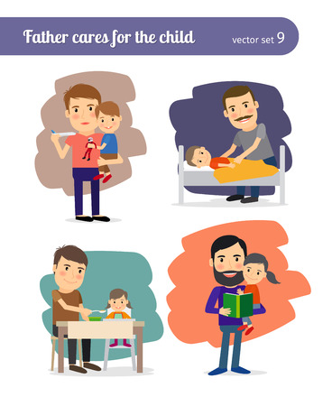 and father: Father cares for the child Illustration