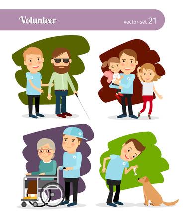 Personnages de dessins animés bénévole de jeune homme. Aider les personnes handicapées et l'alimentation des animaux errants Banque d'images - 46639717