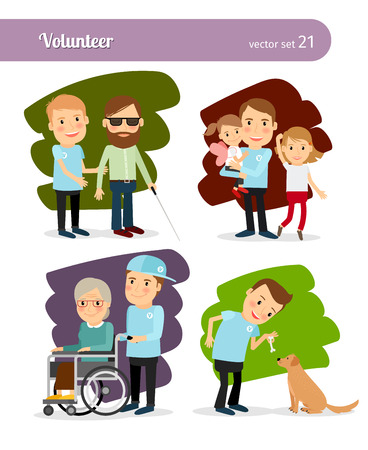 Young man volunteer cartoon characters. Help disabled people and feeding stray animals Stock Vector - 46639717