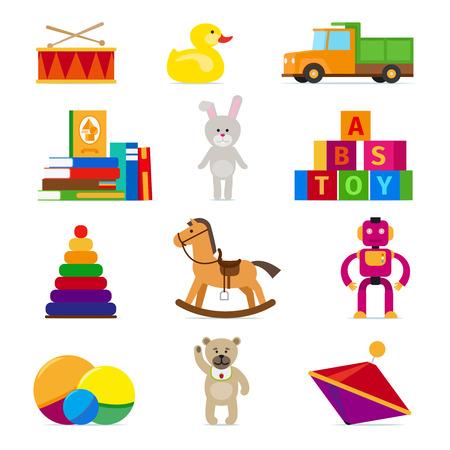 molinete: Ni�os juguetes iconos planos establecidos en el fondo blanco. Tambor y camiones, pelota y perinola