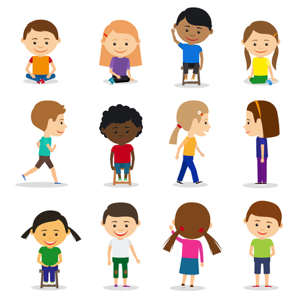elementary kids: Cute kids characters in different position vector set in flat style Illustration