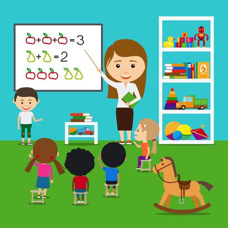 maestra preescolar: Maestro enseñar a los niños en el kinder. Vector preescolar concepto educativo